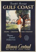 Vintage Beautiful Mississippi Gulf Coast USA Travel Poster.